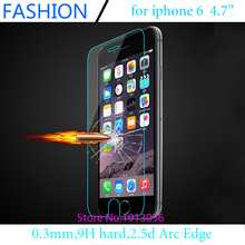 0.3mm Premium Tempered Glass for iPhone 6 4.7 inch 9H Hard 2.5D Arc Edge High Transparent Screen Protector free shipping