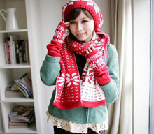 F07225 1pc Warm Knitted Woolen Snow Fawn Pattern Suit Scarf & Cap & Gloves Red Christmas Best Gift Free shipping(China (Mainland))