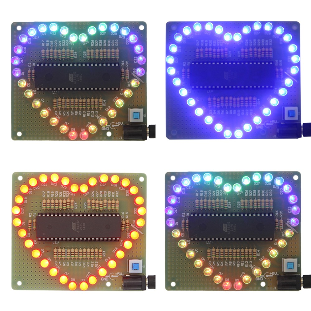 2015 Blue New Heart-shaped LED Red Blue Colorful Light Water Electronic DIY Kit Brand New(China (Mainland))