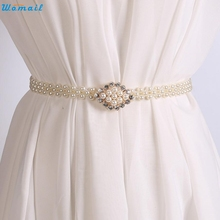 Buy Womail Newly Design Women's Fashoin Elegant Faux Pearl Beads Rhinestone Charms Waist Belt Strap 160616 Drop for $2.14 in AliExpress store
