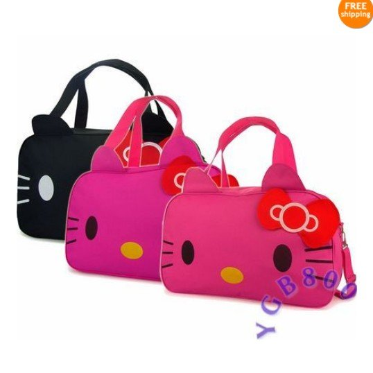 Fashion Hello Kitty Big Travel Luggage Shoulder Bag Tote Hand Bag PURSE low price wholesale(China (Mainland))