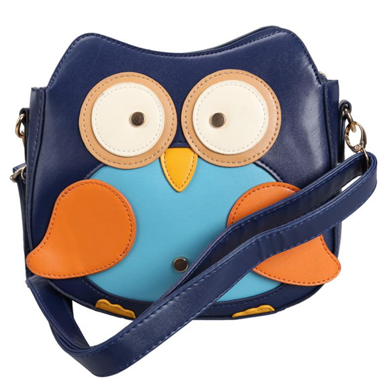 Гаджет  #F9s Women Cute Owl Pattern Small Shoulder Bag Blue Faux Leather Cross Body Bag None Камера и Сумки
