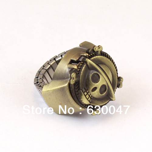 COOL Mens Gothic Steampunk Vintage Skull Cover Pirate Finger Ring Watch Bronze ONE PIECE Present