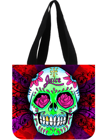 Free Shipping New Women Handbags Fashion 2015 Tote Designers Customized Juice Skull Black White Desigual Canvas Tote Bag(China (Mainland))