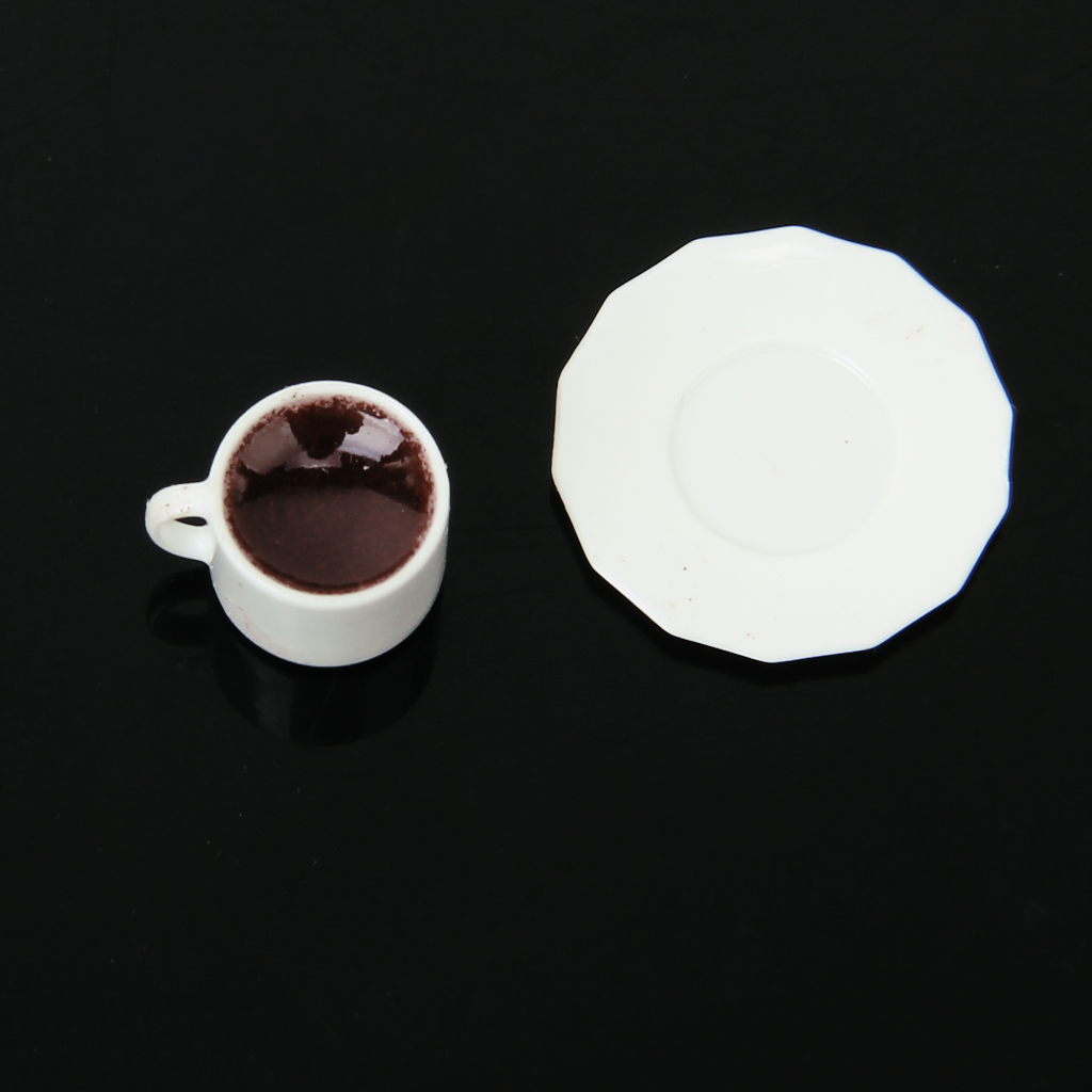 1/12 Dollhouse Miniature 2 Cup of Black Coffee with Saucers Plates Set Classic Pretend Play Kitchen Toys Gift for Children Kids