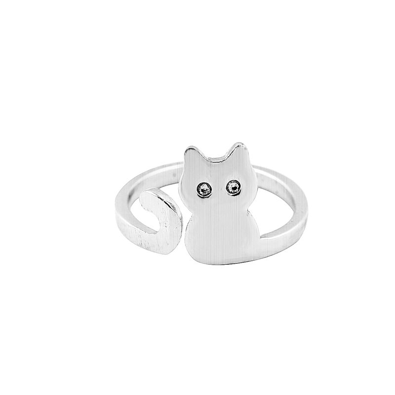 30pcs/lot 2016 New Brushed Gold Silver and Pink Cat Adjustable ring Cute Cat Ring Lovely Cat Jewelry R140(China (Mainland))