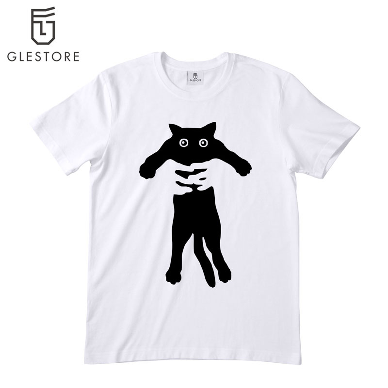 Rainbow And Funny Cat T-Shirts Men'S O-Neck Short-Sleeved White T-Shirt 3D Animal Prints T Shirts Men Tee Shirt(China (Mainland))