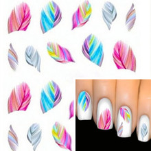 Beautiful Colorful Feather Nail Art Decal Stickers Fashion Tips Decoration New For Women Girl Free Shipping