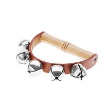 Baby Kid Child Early Educational Musical Instrument Rhythm Beats Shaking Small Jingle Bell Tambourine Handbell Wood Leather(China (Mainland))