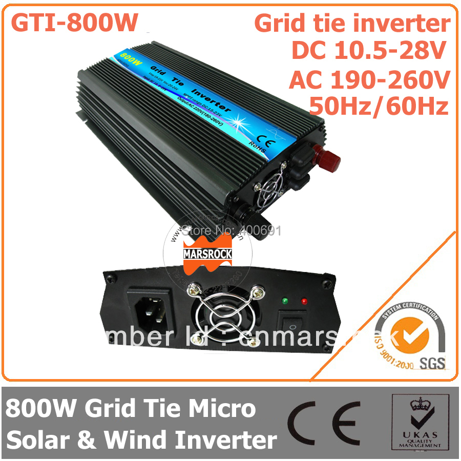 800W Grid Tie Micro Inverter, 10.5-28V DC to AC 190-260V Pure Sine Wave Inverter for 18V wind solar hybrid power system(China (Mainland))