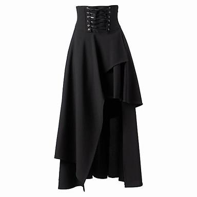 Бесплатная доставка. Длинная юбка из черного хлопока, в стиле : готическая, Лолита, ...