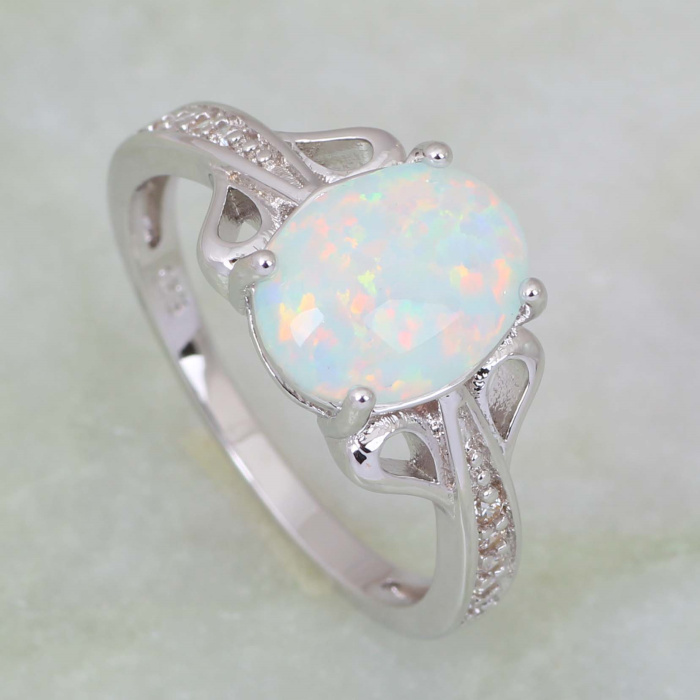 New Statement Jewelry wedding rings Party Jewelry Rings for women White Fire Opal 925 Stamp Sterling Silver Overlay ring R418