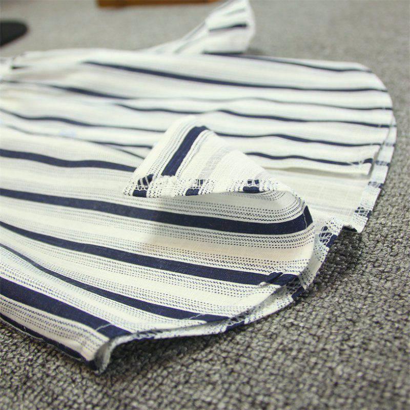 1-6Y Summer Girls Cotton Shirts Children Stripe Shirt Kids Blouse Baby Tops