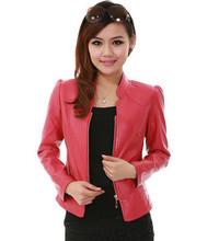 Fashion 2015 Spring Autumn Middle-Aged Women Short Thin Coats Stand Collar Long Sleeve Plus Size PU Leather Jacket J2604(China (Mainland))