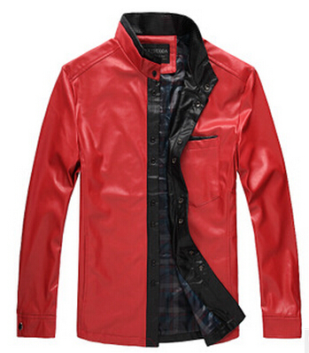 2014 HOT,Winter warm Leather jacket, Men's Casual Brand Jacket luxury leather men's Fur coat ,, 5XL red khaki green