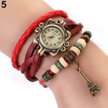 Moda Vintage para mujer relojes de cuero de la torre Eiffel reloj de cuarzo 14CP