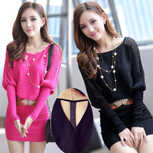 Buy 2016 New Bat Sleeve Sweater Skirt Long Sections Hollow Dress Sweaters Sexy Package Hip Bottoming Pullover Women Sweater G1334 for $15.96 in AliExpress store