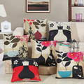 Flower Bottle Printed New Home Decorative home Cushion Throw Pillowcase 18 Vintage Cotton Linen Square Pillows