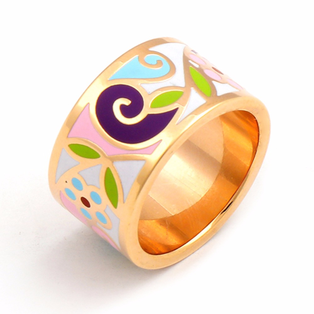 18K Gold Plated Enamel Vintage Jewelry Ring Stainless Steel Rings for Men Women Star Big Love Product Feather Retro Series 2016(China (Mainland))