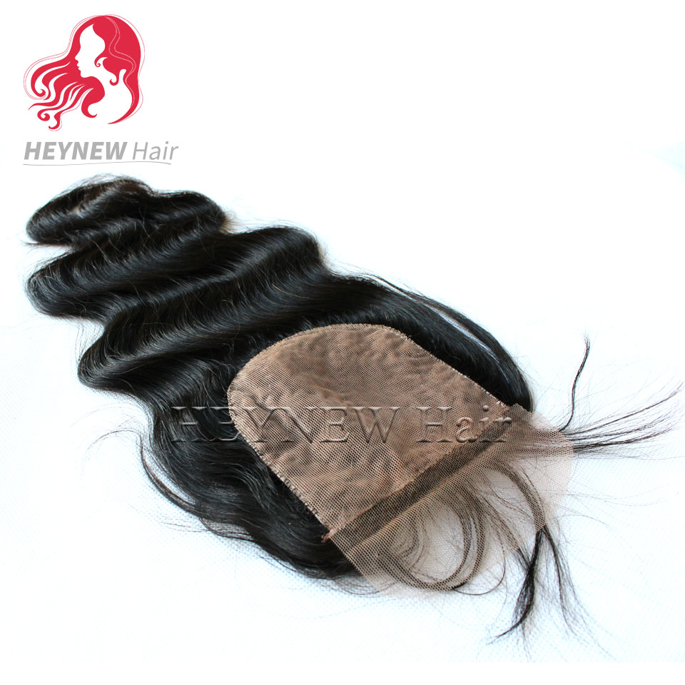 Unprocessed ma-laysian body wave silk base closure bleached knots wavy textured hair silk top closure Free/Middle/Three part<br><br>Aliexpress