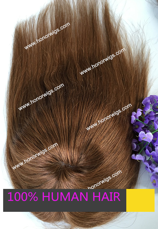 middle brown #4 toupee Super thin skin around indian hair women toupee HT294 fast shipping delivery in stock(China (Mainland))