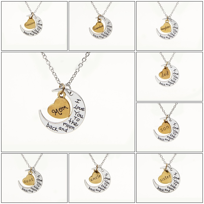 """2015 New Hot Silver Gold Heart """" I Love You To The Moon And Back"""" Charm Pendant Necklace Mother's Day Gift Family Numbers Bijoux(China (Mainland))"""