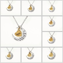 "2015 New Hot Silver Gold Heart "" I Love You To The Moon And Back"" Charm Pendant Necklace Mother's Day Gift Family Numbers Bijoux(China (Mainland))"
