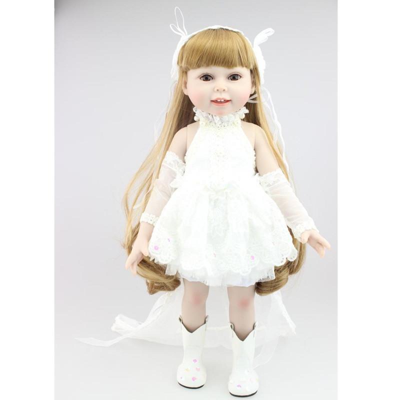 New 18'' Lifelike Reborn Dolls Full Vinyl Brown Long Hair American Girl Dolls Toys High-Grade Lovely Wedding Gifts for Friends