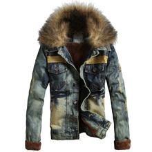 2014 autumn and winter male thickening fur collar denim outerwear vintage winter plus velvet jacket clothing(China (Mainland))