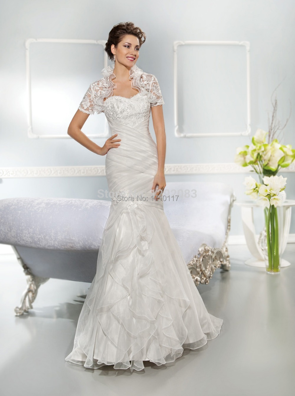2015 Newest Sweetheart with Embroidery Ruched Lace up Back Long Mermaid Wedding Dress Ruffles Bridal Gown with Removable Bolero(China (Mainland))