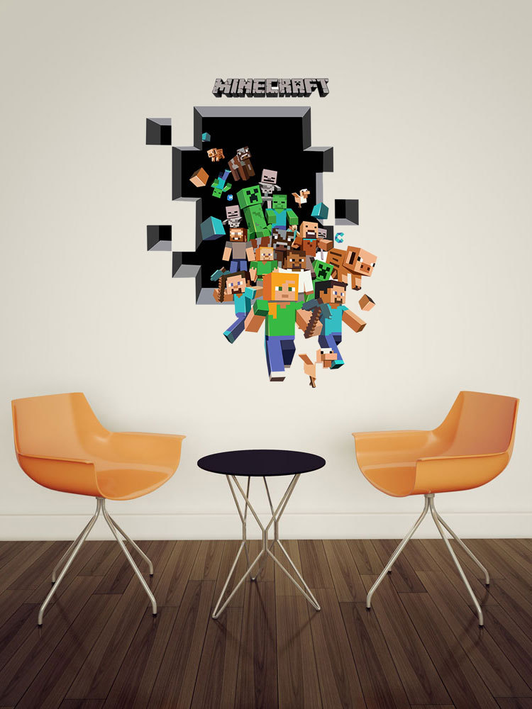 2015  Newest Minecraft Wall Stickers Wallpaper Kids Room Decal Minecraft Home Decoration Free Shipping 6006(China (Mainland))
