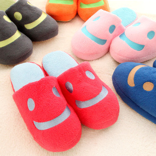 2014 Loverly Shoes Men Women Smile Face Soft Bottom Floor Home Indoor Cotton Slippers Couple Warm Winter Padded Slippers(China (Mainland))
