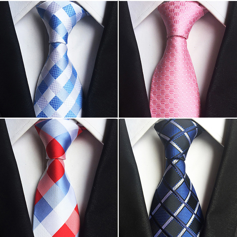 GUSLESON Classic 100% Silk Mens Ties New Design Neck Ties 8cm Plaid&Striped Ties for Men Formal Business Wedding Party Gravatas(China (Mainland))