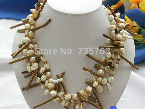 DYY HOT 0014644 3row canary BAROQUE FW PEARL golden coral NECKLACE(China (Mainland))