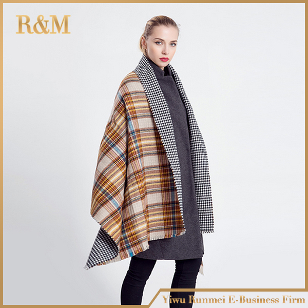 ZA Winter Brand Women's Cashmere Scarf Plaid Oversized double faced plaid Multifunction Thicken Warm cape Shawl Free Shipping(China (Mainland))