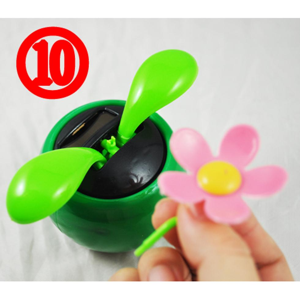 Promotion ! Solar Powered Dancing Sunflower Flip Flap Toy Flower Bug Bobble Plant Pot Swing(China (Mainland))