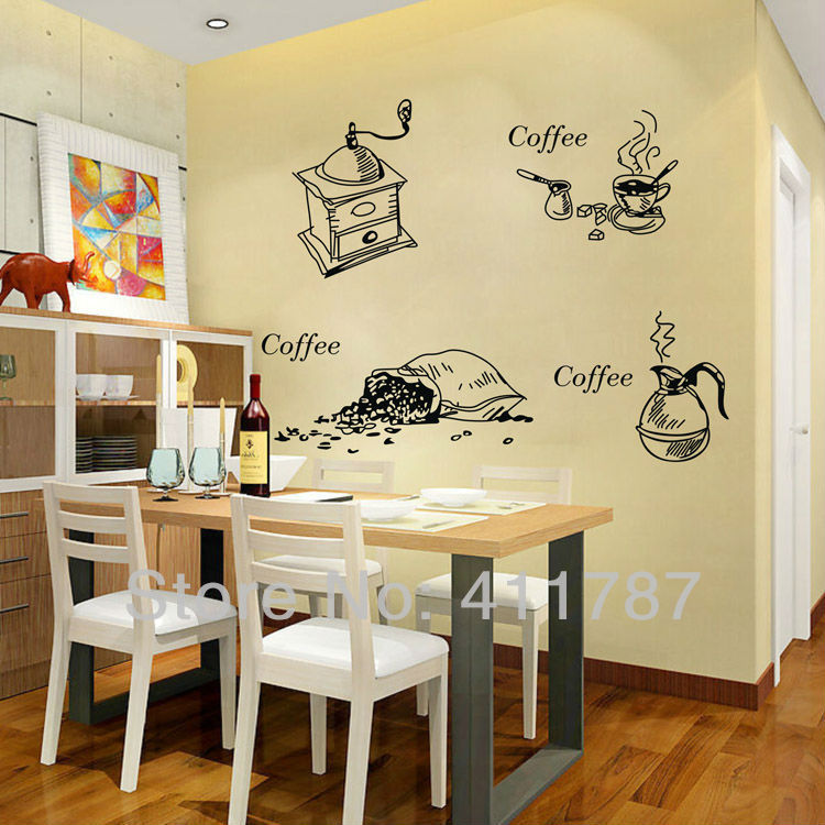Home decor cofffee pattern dining room kitchen wall art for Kitchen and dining room wall decor