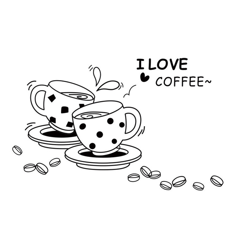 Hot Sale Freedom I Love Coffee Restaurant Storefront Kitchen 3D DIY Fashion Home Wall Sticker New(China (Mainland))