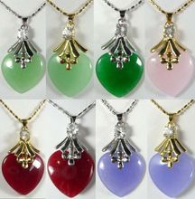 SA 11.23 8 color-noblest pink/red/purple/green heart love jade 18KGP pendant fast chain can choose Discount 35%(China (Mainland))