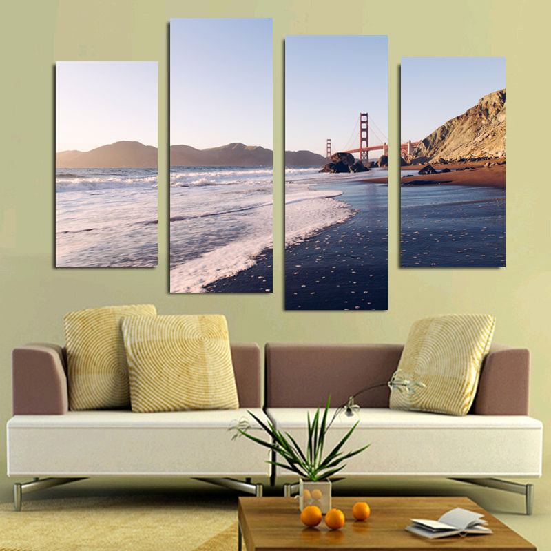 Golden gate bridge painting promotion shop for promotional for Home decor online shopping usa