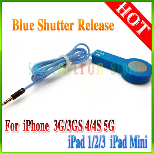 Blue 1M Wired Remote Control Shutter Release Cable for Apple iPhone 3G 4G 4GS 5G iPad 1/2/3/Mini , HongKong Post!(China (Mainland))