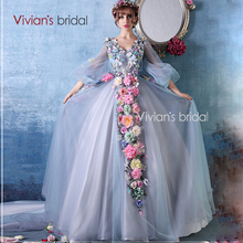 Vivian's Bridal 2016 New Style Fairy Tale Luxury Flowers V-Neck Sexy Wedding Dress White Wedding Gown With Long Sleeves XX12(China (Mainland))