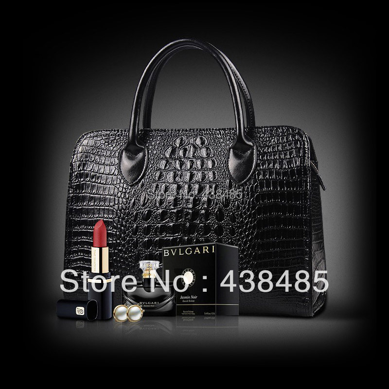 100% Original Luxury Crocodile Embossed Real Genuine Leather Women Handbag Black Tote Bag Satchel Ladies Shoulder Fashion - China Best Supplier store