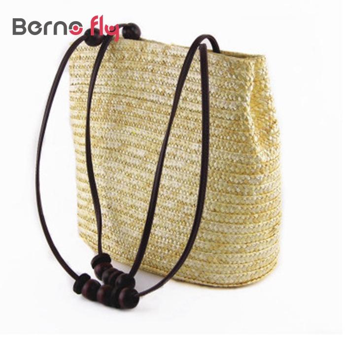 2017 New Vintage Women Handbag Fashion Solid Shopping Tote Beach Bag Casual Bucket Straw Tote Bag Summer Shoulder Bag(China (Mainland))
