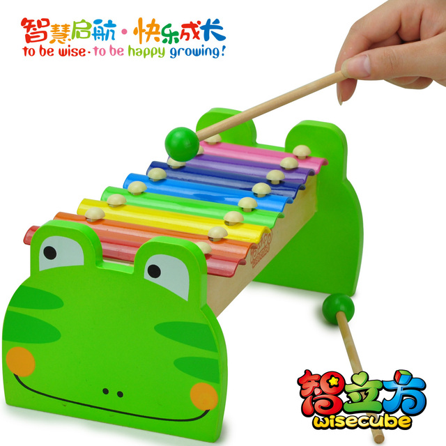 Multicolour steel frog music wooden hand knocking piano baby toy 72