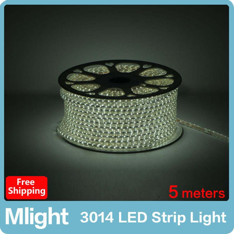 5 meters 3014 220V 360leds/lot Flexible LED Tape Lights Waterproof Ultra Durable Outdoor Decorative Light Strip(China (Mainland))