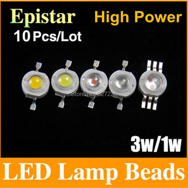 Free shipping 1W 3W LED Bulbs High power Lamp beads Pure White/Warm White 300mA 3.0-3.6V 100-220LM 30-45mil Taiwan Genesis Chip(China (Mainland))