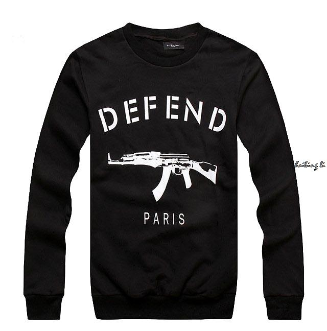 2015 New spring auturn men GIV DEFEND PARIS AK47 hoody printed pullover Long Sleeve Hiphop 3D