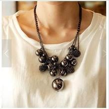N313 Europe and the United States for multilayer sphere large Bead Tassel elements sweater chain!#1444(China (Mainland))