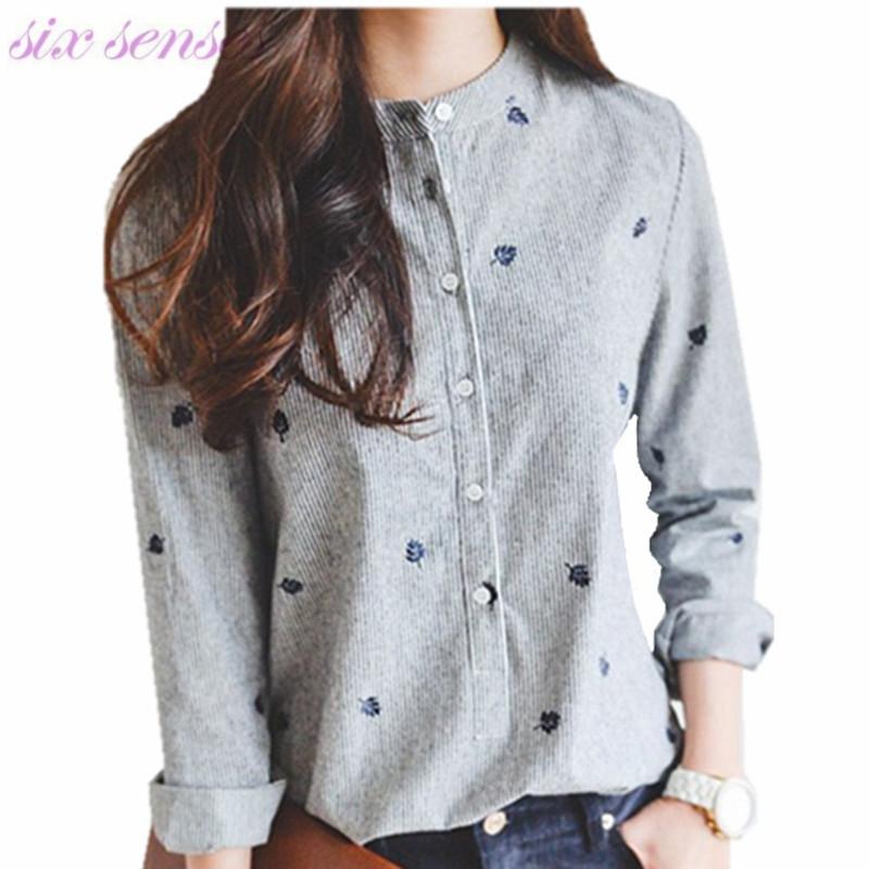 Женщины футболки новая Корея весна лето моды случайные тонкий рубашки вышивка полосатый стенд Воротник женщины блузка плюс размер, LB1544